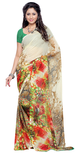 Contemporary Weightless Georgette Printed Saree in Beige and Brown Colour