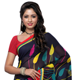 Marvelous Georgette Printed Saree in Black and Grey Colour