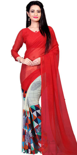 Smashing Marble Chiffon Printed Saree in Red