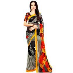 Gorgeous Black Color Marble Chiffon Printed Sari with Yellow Border