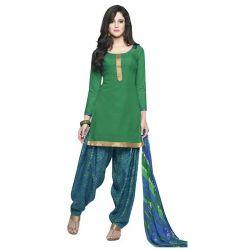 Astonishing Deep Green Coloured Pure Cotton Patiala Suit
