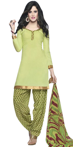 Fabulous Cotton Printed Patiala Suit in Light Green