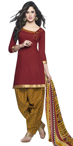 Classic Red and Yellow Shaded Cotton Printed Patiala Suit