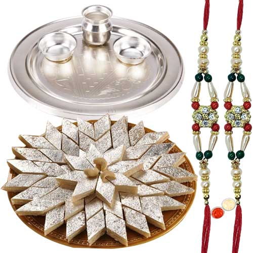 Silver Plated Thali having <font color=#FF0000>Haldiram</font>s Badam Katli and 2 free Rakhi, Roli Tilak and Chawal
