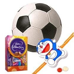 Football and Kids Rakhi, Cadbury Celebration Mini with Free Roli Tilak and Chawal