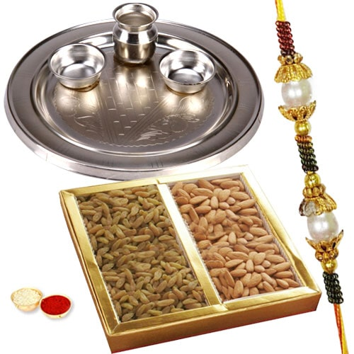 Silver Plated Rakhi Thali with One or More Rakhi Options with Dry Fruits