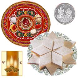 Diwali Thali with Kaju Katli