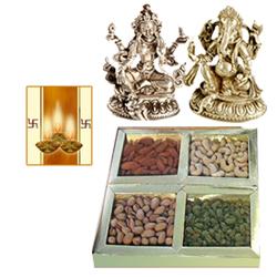 Laxmi Ganesh Idol with Dry Fruits