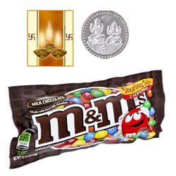 Famous M&M Chocolates ( 57 Gms.) Bag. with free Siver Plated Coin and Diwali Card.