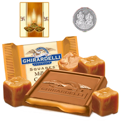 Famous Ghiradelli Chocolates ( 150 Gms. Pack) with free Siver Plated Coin and Diwali Card.
