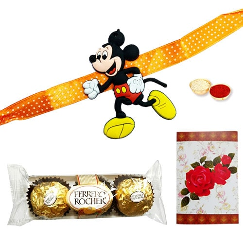 Delicious 3 Ferrero Rocher Choco Delight and Rakhi for Kids