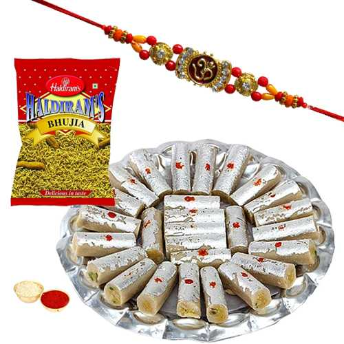 One or More Designer Ethnic Rakhi with 500 Gms. Kaju Pista Roll n 200 Gms. Haldirams Bhujia<br /><font color=#0000FF>Free Delivery in USA</font>