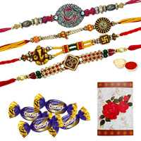 Four OM/Ganesh Rakhi with 4 Chocolates<br /><font color=#0000FF>Free Delivery in USA</font>