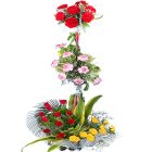 Elegant Roses, Carnations and Mixed Blossoms Assorted in 3 Tiers